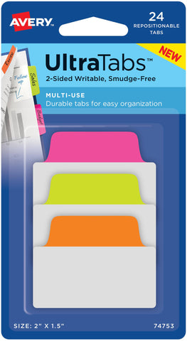 "Avery Multiuse Two-Side Writable Ultra Tabs 2""X1.5"""