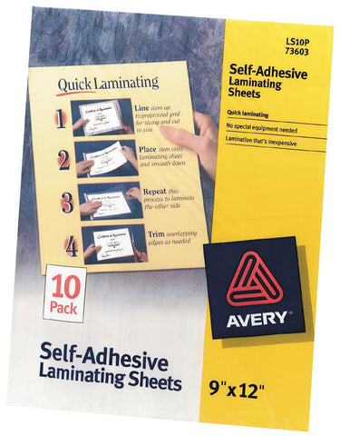 "Avery Self-Adhesive Laminating Sheets 9""X12"" 10/Pkg"