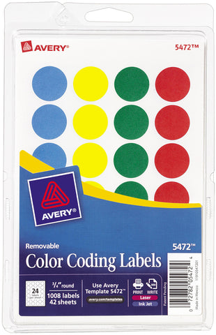 Avery Print/Write Self-Adhesive Removable Labels 1008/Pkg