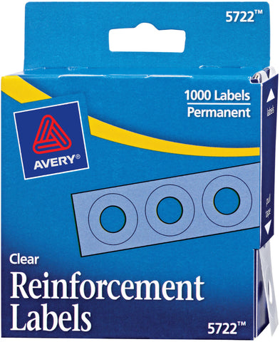 Avery Clear Self-Adhesive Reinforcement Labels 1000/Pkg