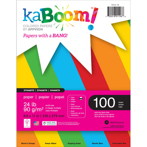 "Appvion Kaboom! Colored 24lb Paper Pack 8.5""X11"" 100 Sheets"