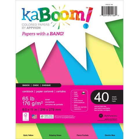"Appvion Kaboom! Colored 65lb Cardstock 8.5""X11"" 40 Sheets"