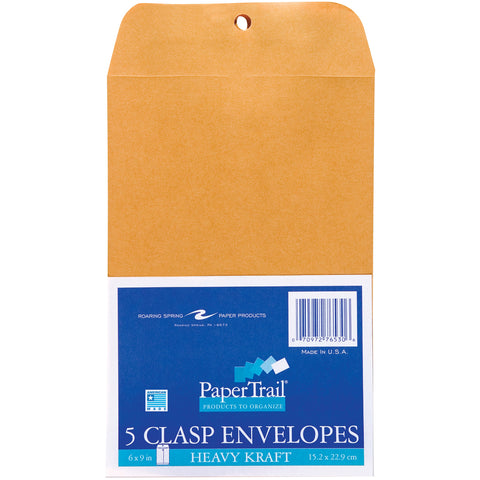 "Heavy Clasp Envelopes 6""X9"" 5/Pkg"
