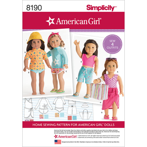 "Simplicity American Girl Doll Clothes For 18"" Doll"