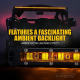 "Xprite Sunrise Series 50"" Single Row 240W LED Light Bar with Amber Backlight"
