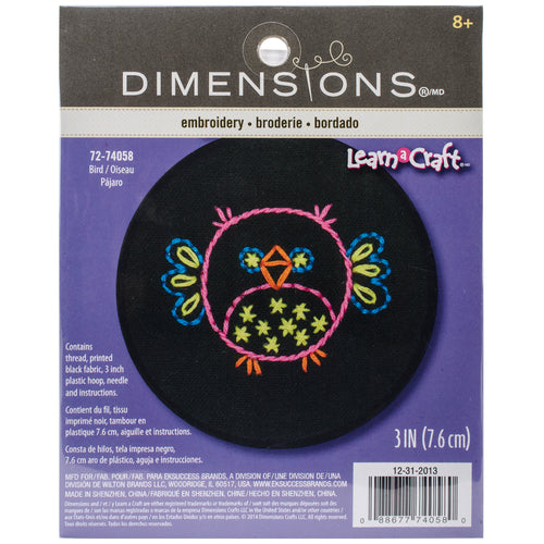 "Dimensions/Learn-A-Craft Stamped Embroidery Kit 3"" Round"