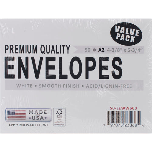 "Leader A2 Envelopes (4.375""X5.75"") 50/Pkg"