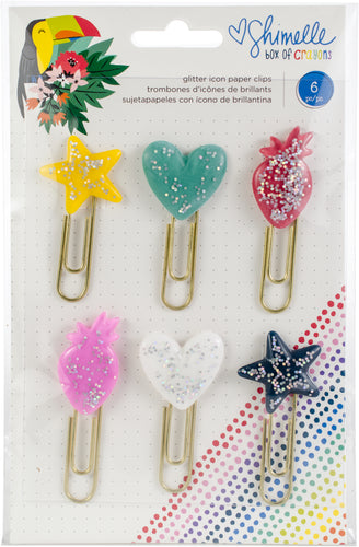 Shimelle Box Of Crayons Glitter Paper Clips 6/Pkg
