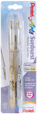 Pentel Sunburst Metallic Gel Pen .8mm 2/Pkg