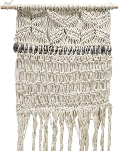 "Macrame W/Gray Wool 42"" Wall Hanging"