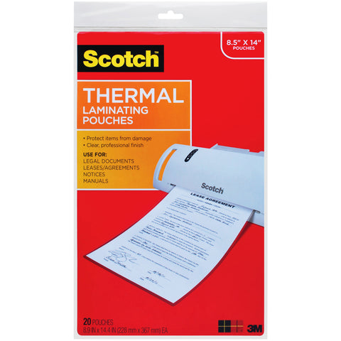 Scotch Thermal Laminator Pouches 3 Mil 20/Pkg
