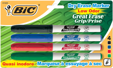 BIC Great Erase Low Odor Dry-Erase Fine Point Markers 4/Pkg
