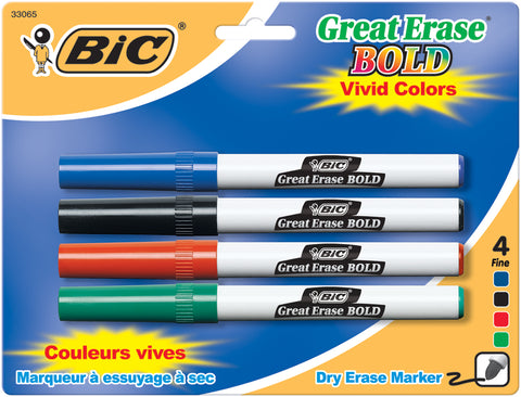 BIC Great Erase Bold Dry-Erase Fine Point Markers 4/Pkg