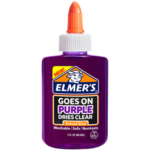 Elmer's Washable Goes On Purple/Dries Clear School Glue