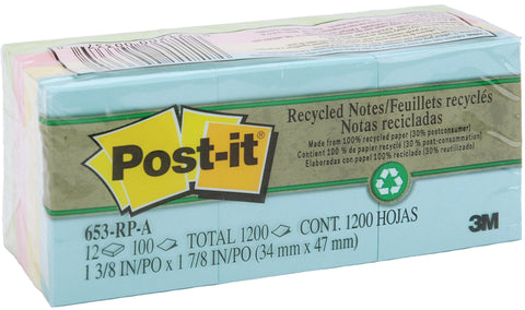 "Post-It Recycled Notes 1.38""X1.88"" 12/Pkg"