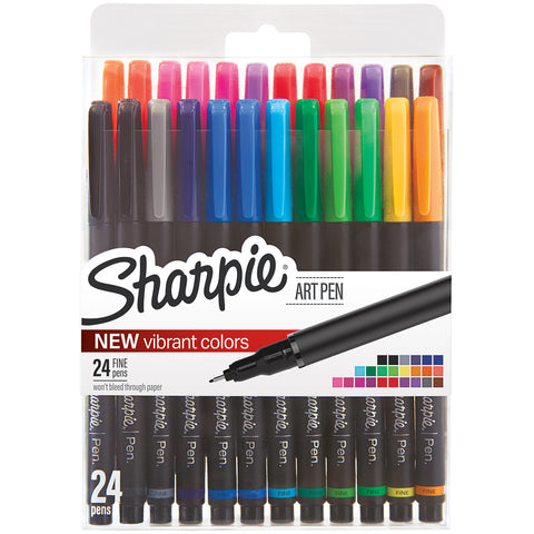 Sharpie Fine Point Art Pen W/Hardcase 24/Pkg
