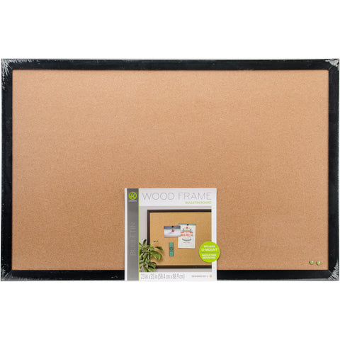 Cork Bulletin Board With Black Wood Frame 1/Pkg
