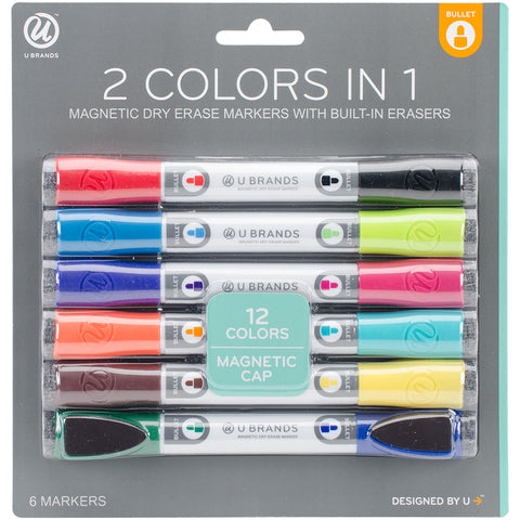 Double-Ended Dry Erase Magnetic Markers 6/Pkg