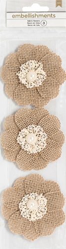 American Crafts Burlap Flowers 3/Pkg