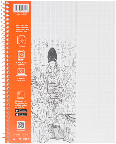 "Whitelines Wirebound Graph Notebook 11""X8.5"" 70 Sheets"