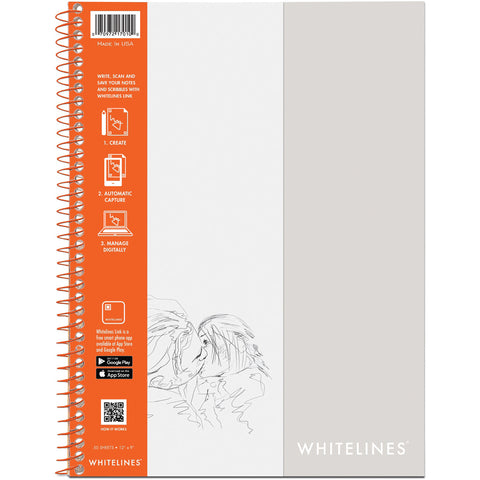 "Whitelines Wirebound Plain Sketch Paper Notebook 12""X9"""