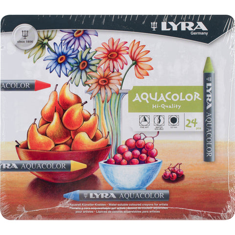 Lyra Aquacolor Water-Soluble Crayons 24/Pkg
