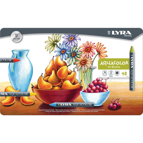 Lyra Aquacolor Water-Soluble Crayons 48/Pkg