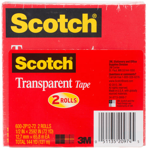 Scotch Transparent Tape 2/Pkg