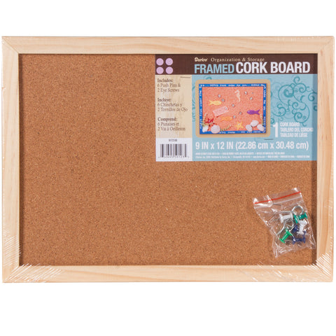 "Framed Cork Memo Board 9""X12"""