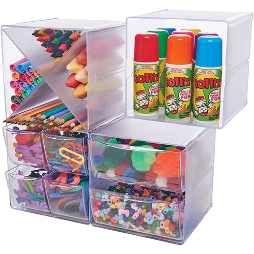 Deflecto Stackable 2 Drawer Cube Storage Organizer