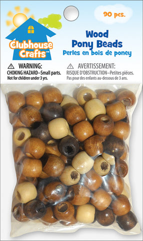 Clubhouse Crafts Wood Pony Beads 90/Pkg