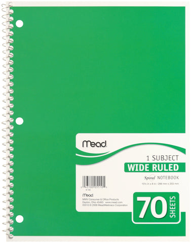 "Mead 1 Subject Wide Ruled Spiral-Bound Notebook 10.5""X8"""