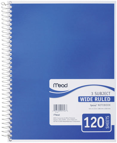 "Mead 3 Subject Wide Ruled Spiral-Bound Notebook 10.5""X8"""