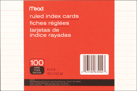 "Mead Index Cards 4""X6"" 100/Pkg"