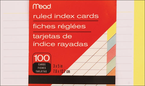 "Mead Index Card 3""X5"" 100/Pkg"