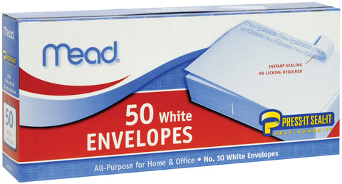 "Mead Boxed Peel & Stick Envelopes 4.125""X8.5"" 50/Pkg"