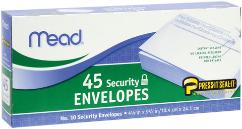 "Mead Boxed Peel & Stick Envelopes 4.125""X9.5"" 45/Pkg"