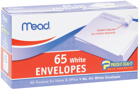 "Mead Boxed Peel & Stick Envelopes 3.625""X6.5"" 65/Pkg"