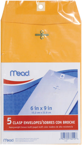 "Mead Clasp Envelopes 6""X9"" 5/Pkg"