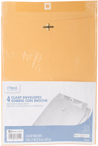 "Mead Clasp Envelopes 9""X12"" 4/Pkg"