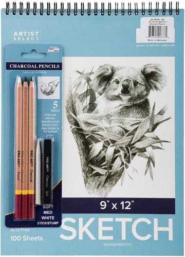 "Artist Select Sketch Pad 9""X12"" & 5pc Charcoal Pencil Set"