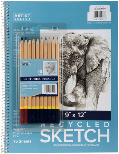"Artist Select Sketch Pad 9""X12"" & 10pc Sketching Pencil Set"