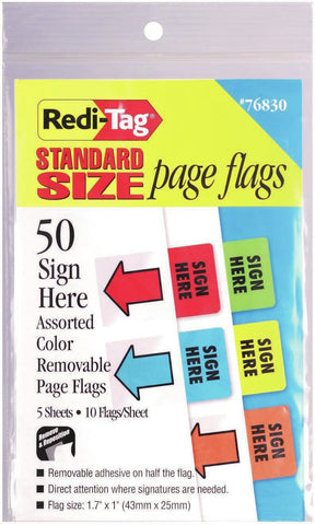 Redi-Tag Standard Page Flags - Sign Here 50/Pkg