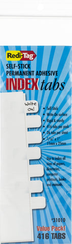 Redi-Tag Permanent Index Tabs - Write On 416/Pkg