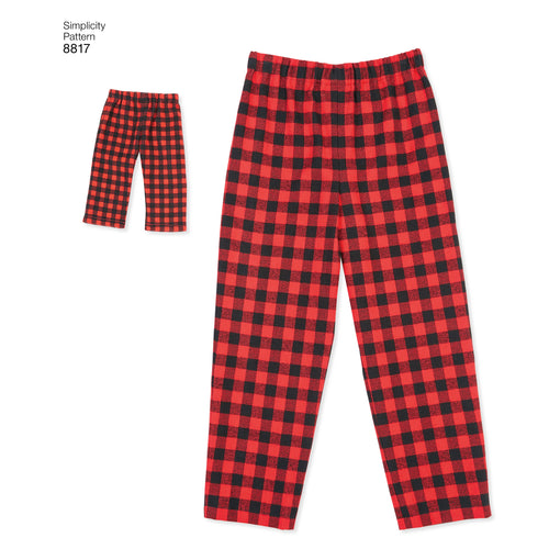 "Simplicity American Girl 18"" Doll & Girl Lounge Pants Shorts"
