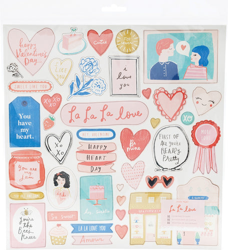 La La Love Chipboard Stickers 51/Pkg