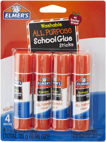 Elmer's Washable School Glue Stick 4/Pkg
