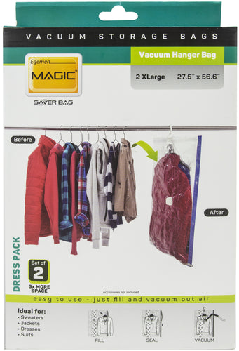 Egemen Magic Saver Vacuum Hanger Bag Set Of 2 Dress Pack