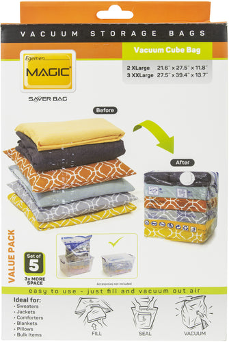 Egemen Magic Saver Vacuum Cube Bag Set Of 5 Value Pack