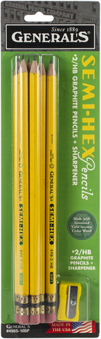 Semi-Hex Graphite #2 Pencils W/Sharpener 11/Pkg